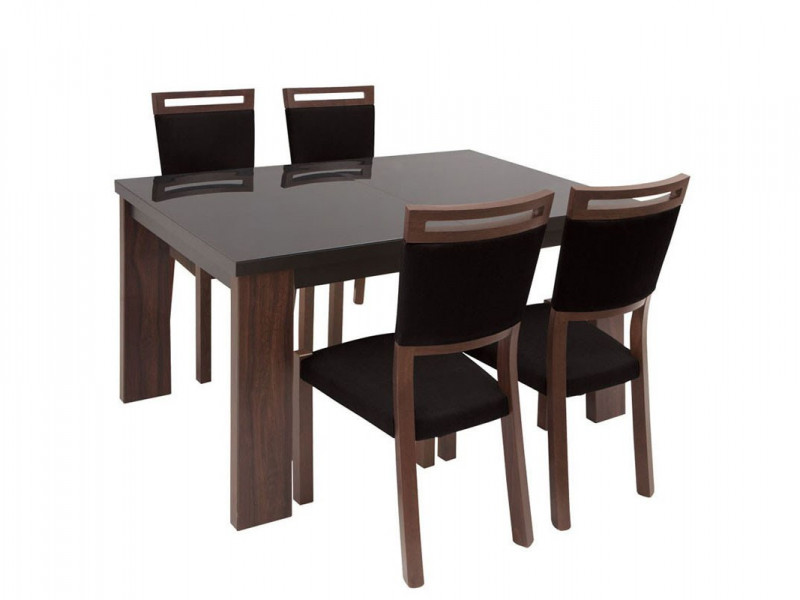 Dining Room Set Table with Black Glass Top & 4 Chairs - Alhambra (ALHAM DIN SET)