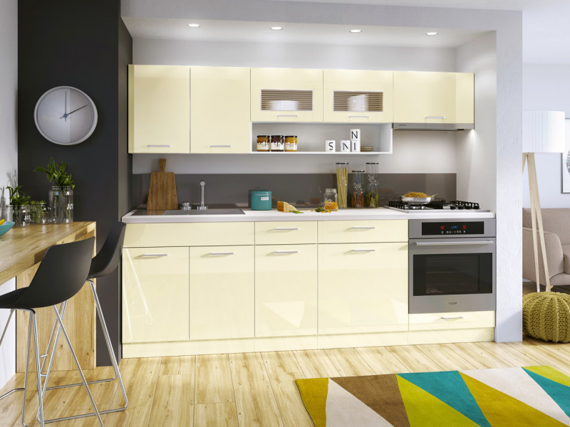 Free Standing White/Cream Gloss Kitchen Cabinets Cupboards Set 7 Units - Modern Luxe (ModernLuxe7UnitCream)