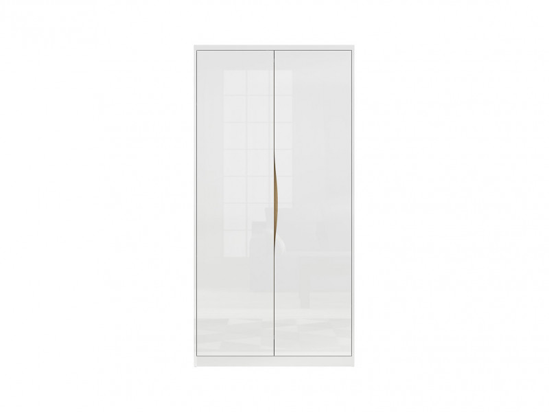Modern 2-Door Double Wardrobe White Gloss Oak finish Freestanding - Pori (L87-SZF2D-BIP-KPL01)