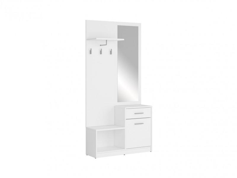 White Hallway Stand Entrance Hall Cabinet Shoe Storage Furniture Set - Nepo (S435-PPK-BI-KPL01)