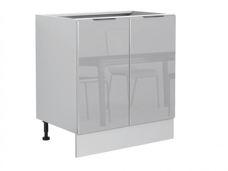 Light Dove Grey Gloss Kitchen Base Cabinet 80cm Cupboard 2 Door Free Standing 800 Unit - Luna (STO-LUNA-D80-SZ-SZP-KP01)