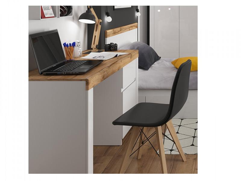 Scandinavian Sturdy Large Computer Desk Home Office Study 1 Door and 1 Drawer White Gloss/Oak - Holten (S440-BIU1D1S-BI/DWO/BIP-KPL01)