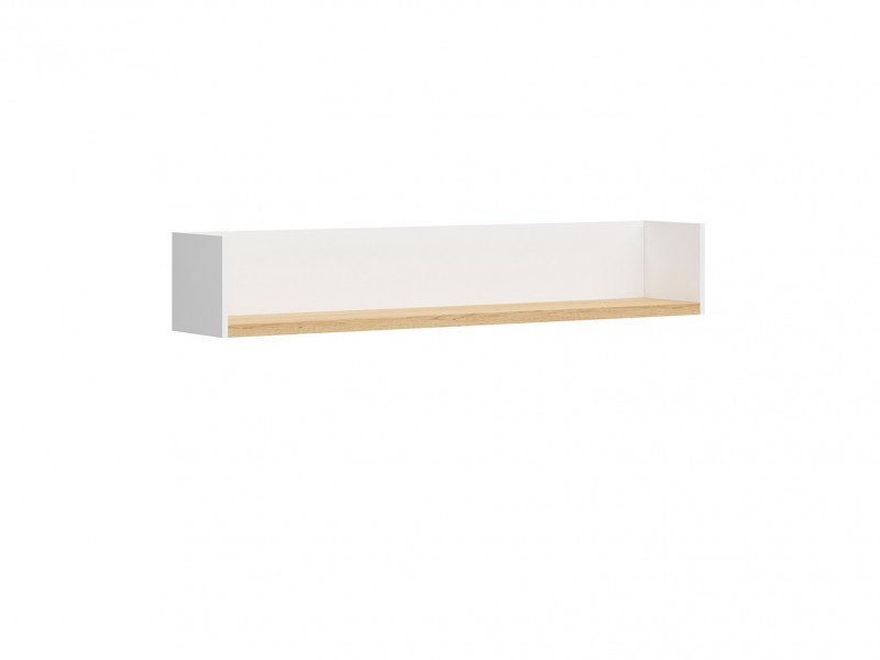 Scandinavian Wall Mounted Panel Shelf in White Matt & Oak 150cm - Haga (S369-POL/150-BIM-KPL01)