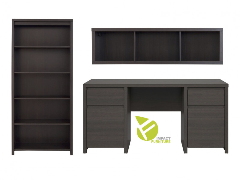 Office Study Furniture Desk Set 2 Brown - Kaspian (KASP OFF SET2 WE)