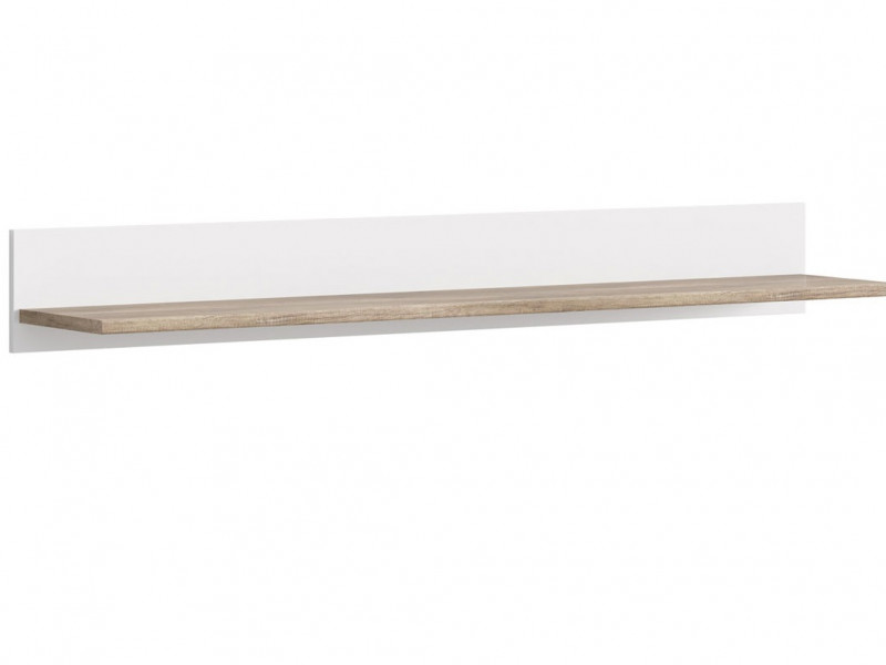 Long Floating Wall Mounted Shelf 160 cm Panel White / Oak Finish - Cannet (S351-POL/160-DAMO/BI)