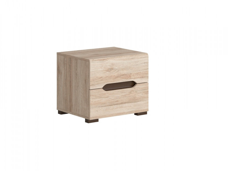 Sleek Modern Bedside Cabinet Table Two Drawer Unit in Light Oak Effect Finish - Elpasso (S314-KOM2S-DSAJ/DWB-KPL01)
