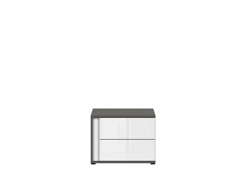 Modern Grey Matt White Gloss Bedside Cabinet Table Side Unit with 2 Drawers Right Insert Bedroom Furniture - Graphic (S343-KOM2SP/B-SZW/BI/CZ-KPL01)