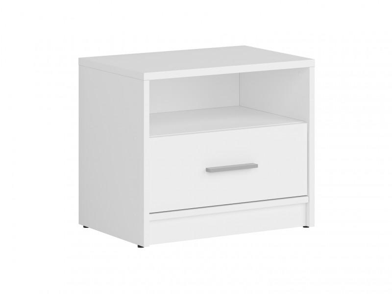 Modern 1 Drawer Bedside Cabinet Side Table Drawer Unit White Matt Effect Finish - Nepo (S435-KOM1S-BI-KPL01)