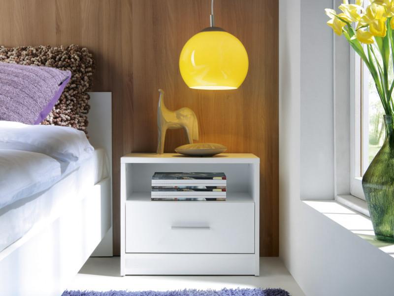 Modern Bedside Cabinet Table Drawer White Oak or Dark - Nepo (S301-KOM1S-BI-KPL01)