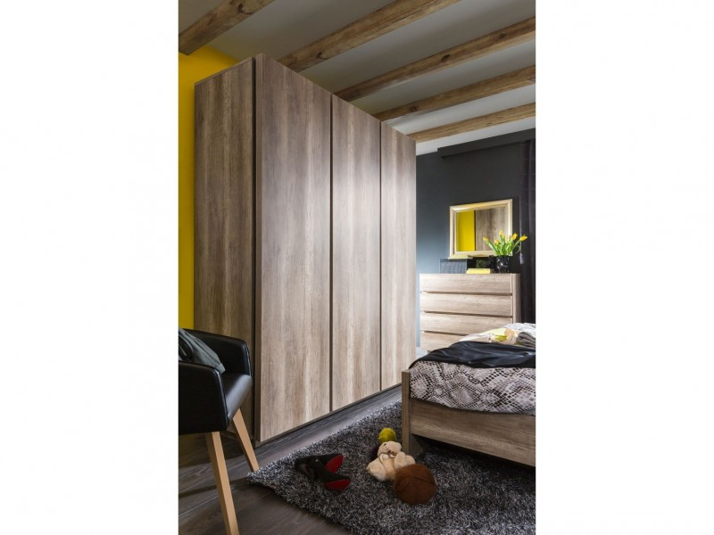 Modern Bedroom Quad Triple 3-Door Wardrobe with Shelves and Rail Soft Closing Oak - Anticca (S317-SZF3D-DAMO-KPL01)