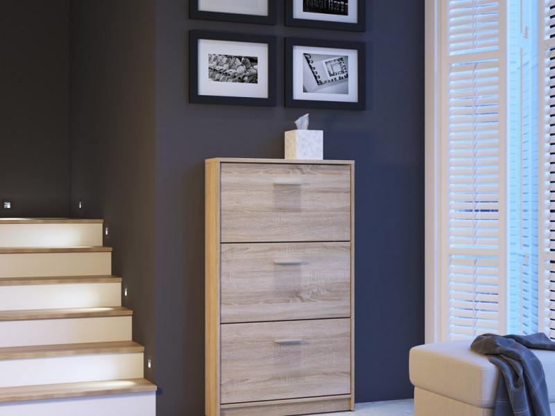 Triple Door Shoe Cabinet Slimline Hallway Storage Sonoma Oak Wood Effect Finish- Nepo (S435-SFB3K-DSO-KPL01)