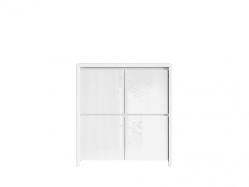 White High Gloss Square Sideboard Cabinet - Kaspian W (KOM4D)