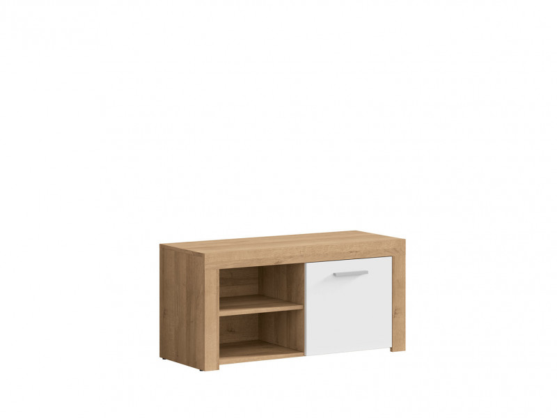 Modern Shoe Cabinet Small Lowboard 90 cm 1-Door Storage Unit Oak/White Gloss - Balder (S382-SFK1D-DRI/BIP-KPL01)