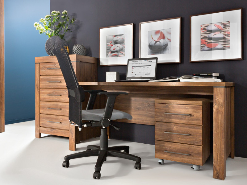 Home Office Furniture Set Desk & Mobile Drawers Pedestal Oak tone - Gent (S228-BIU/160-DAST+S228-KON3S/6/4-DAST)