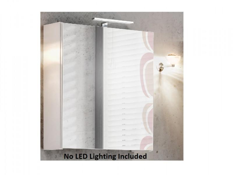 Modern White Mirror Bathroom Storage Cabinet 50cm Wall Unit with Mirrored Door and Shelf - Twist (TWIST_840_WHITE)
