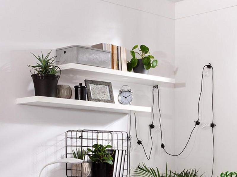 Modern Short Shelf Floating Wall Mounted Design White Matt Finish 105cm - Kaspian (S128-POL/100-BI-KPL03)
