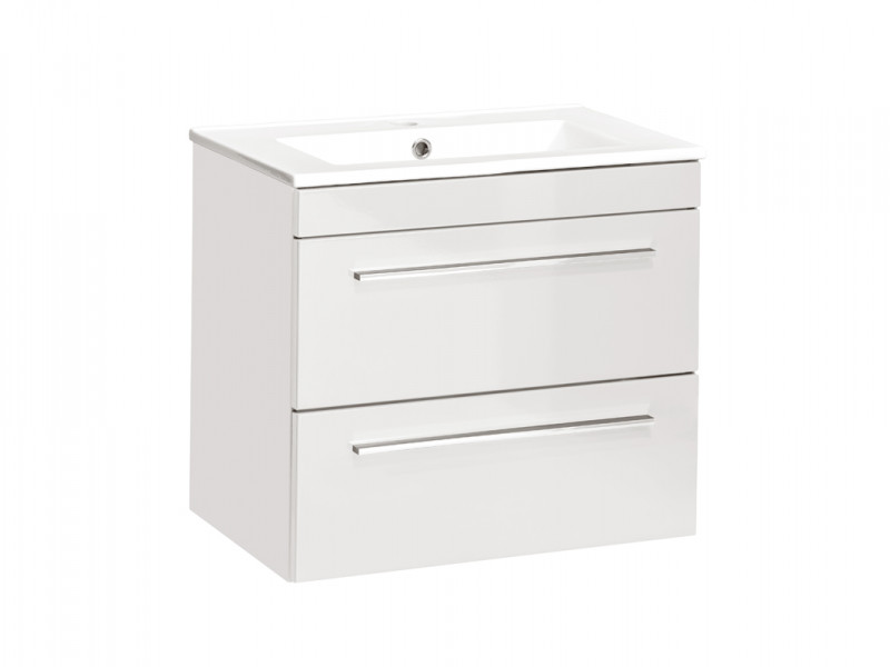Modern Vanity Bathroom Cabinet Unit with Ceramic Sink White Matt/White Gloss  - Twist (TWIST_820_WHITE+CFP-2060_RB)
