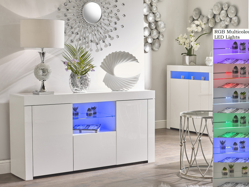 Modern White Gloss Sideboard Glass Display Cabinet TV Unit Lowboard with Multicolour RGB LED Lights - Lily (HOF-LILYGLASS-BI/BIP-KP01+RGB)