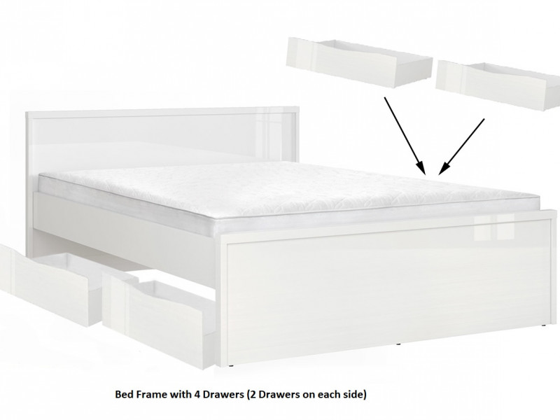 Modern White High Gloss Double Bed Frame & 4 Under Bed Storage Drawers - Pori (L87- set 3)