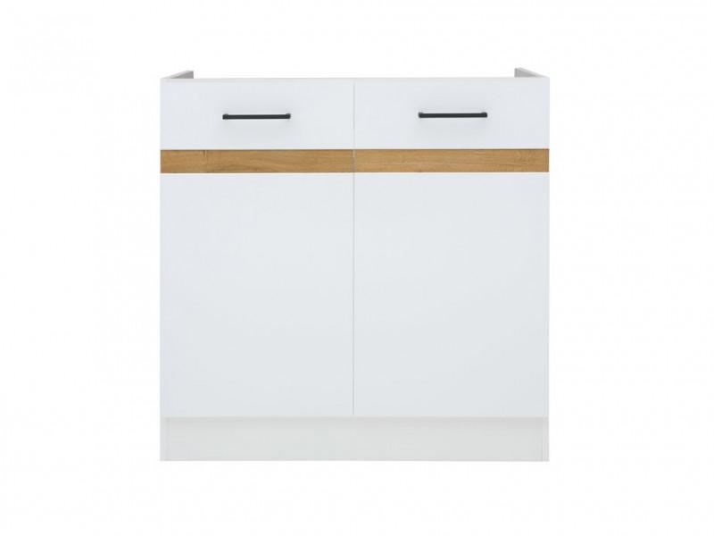 Modern Free Standing Kitchen 800 Cabinet Cupboard Under Sink Unit 80cm White Gloss/Oak - Junona (K24-DK2D/80/82-BI/BIP-KPL01)