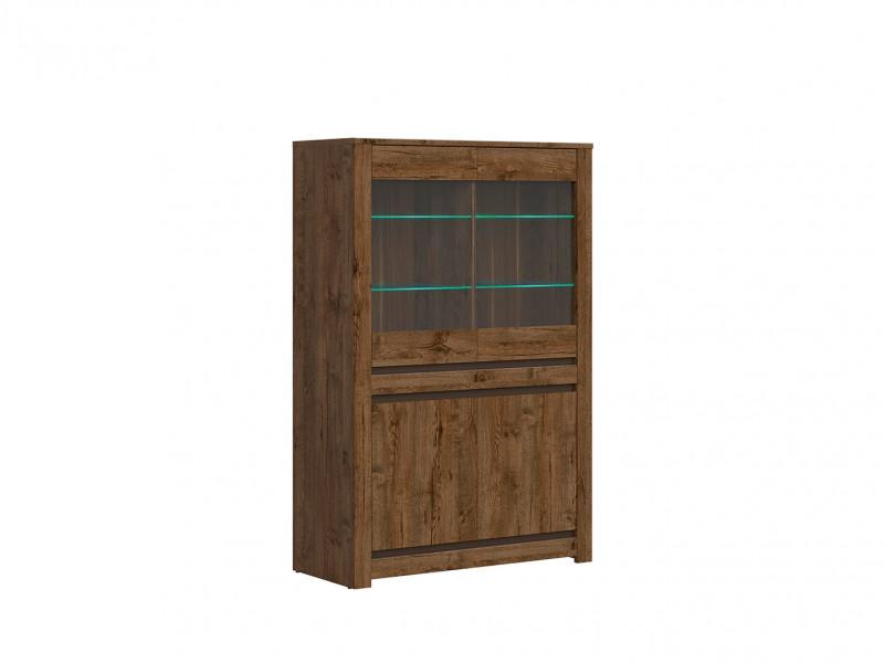 Classic Wide Glass Door Storage Display Cabinet Unit with LED Lights Dark Oak/Grey - Kada (S404-REG2W2D-DARL-KPL01  + S404-REG2W2D_OPCJA2-BI3K-KPL01)