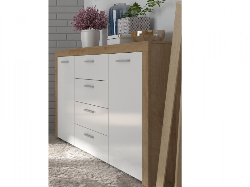 Modern 2 Door 4 Drawer Wide Sideboard Dresser Cabinet Storage Unit Oak Effect and White Gloss - Balder (S382-KOM2D4S-DRI/BIP-KPL01)