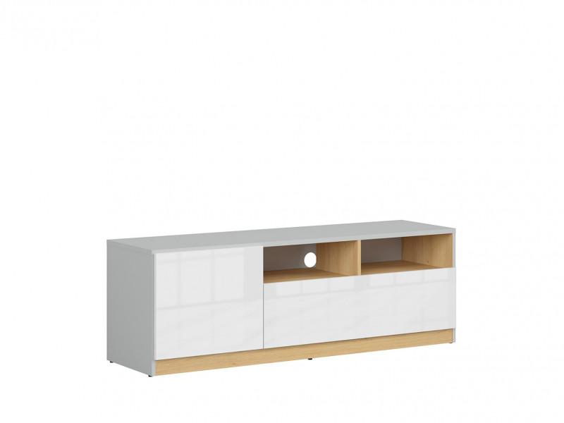 Modern TV Cabinet Unit Media Bench Stand with Drawer Soft Closing White Gloss/Grey/Oak - Nandu (S441-RTV1D1S-JSZ/DP/BIP-KPL01)