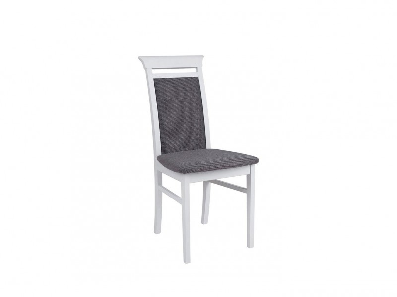 White Dining Chair with Grey fabric - Idento (NKRS)