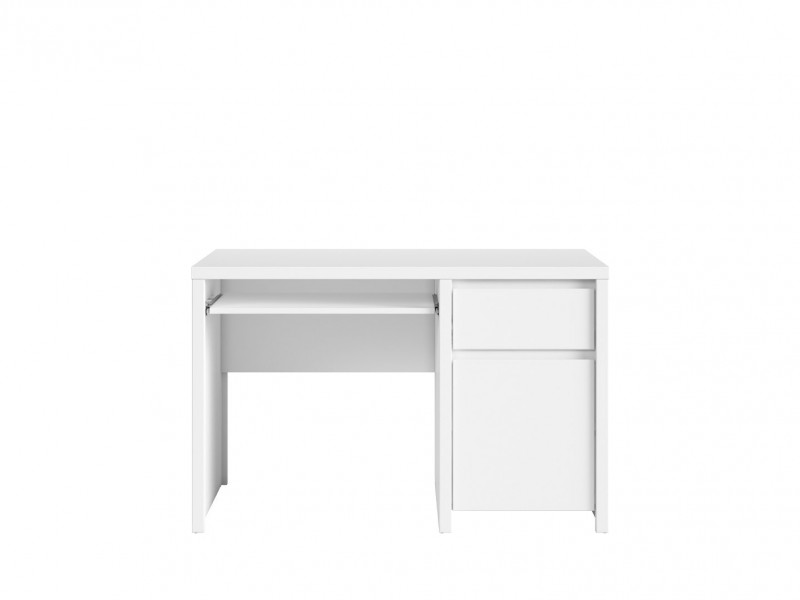 Modern White Desk for Office Study Computer with Cabinet and Drawer - Kaspian (S128-BIU1D1S/120-BI/BI-KPL01)