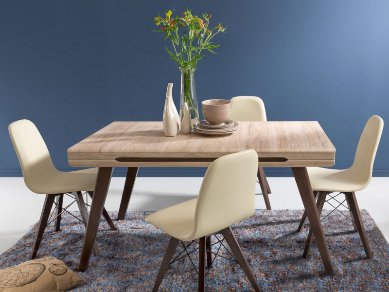 Dining Room Furniture Set Table Oak San Remo Light & 4 Beige Chairs - Elpasso (ELPASSO DIN SET)