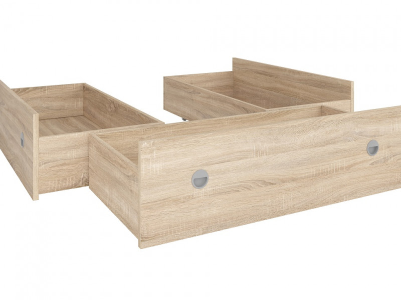 Set of Three Underbed Storage Drawers for Double Bed in Sonoma Oak Light Wood Effect Finish- Nepo (S435-LOZ3S_OPCJA-DSO-KPL01)