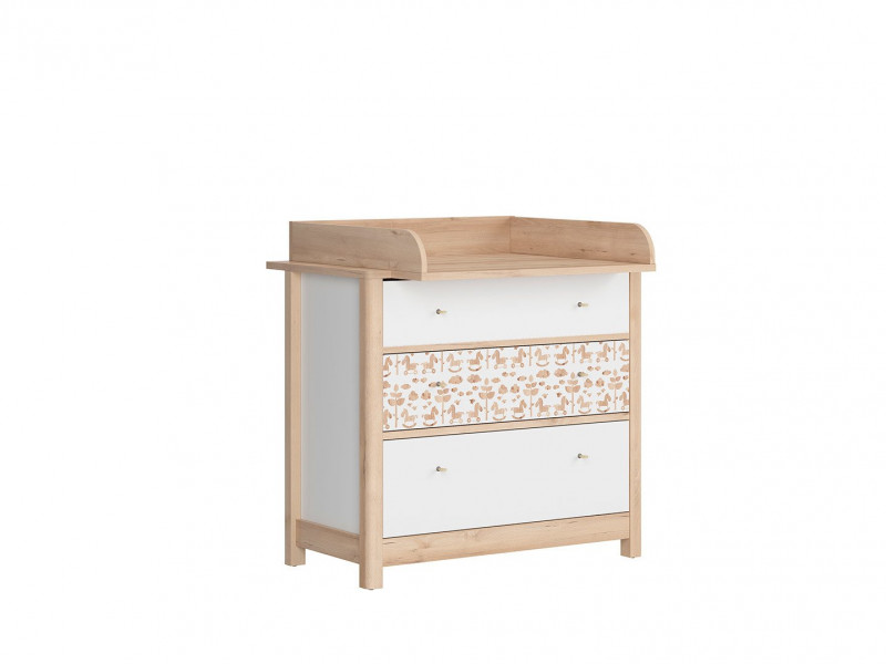 White / Beech Chest of Drawers Changing Table Baby Nursery Furniture Horse Motif - Timon (S438-PRKW-BUI/BI/KOA/BI)