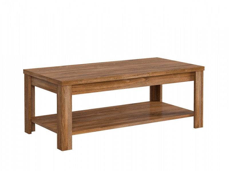 Modern Rectangular 130cm Coffee Table with Storage Shelf Medium Oak Effect - Gent (D05021-LAW/5/13-DAST-KPL01)