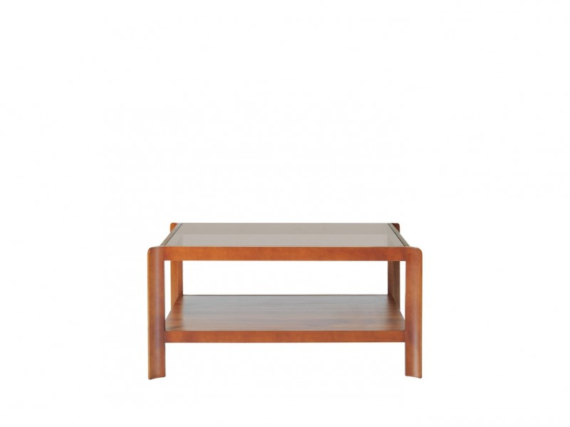 Rectangular Coffee Table with Glass Top & Shelf - Alevil (LAW/100)