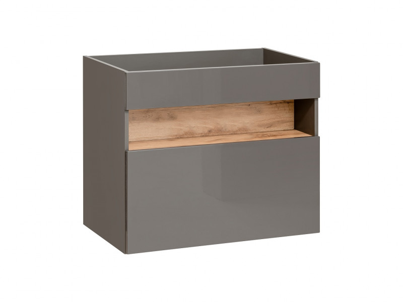 Modern Grey Gloss Wall Vanity Bathroom Sink Cabinet 800 Unit with Designer Oak Shelf & LED Light - Bahama (BAHAMA_821_GREY)