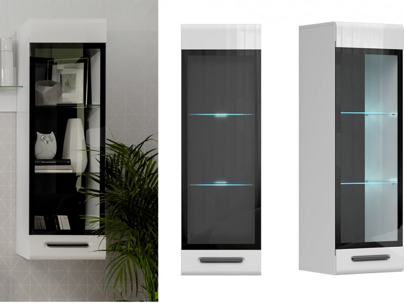Modern White Gloss Wall Mounted Display Cabinet Glass Fronted LED Lights Unit - Assen (S513-SFW1W/13/4-BI/BIP-KPL01+LEDS)