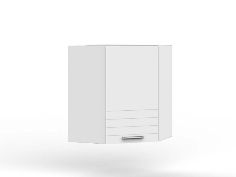 White/Light Grey Kitchen Corner Wall Cabinet with Door 60cm Unit Cupboard - Paula (STO-PAULA-WR_P-GR/WHITE-KP01)
