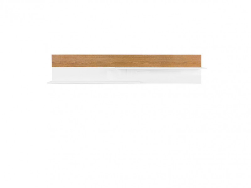 Scandinavian Living Room Wall Mounted Display Floating Panel Shelf White/Oak - Kioto (S425-POL / 145-BI / DBC)