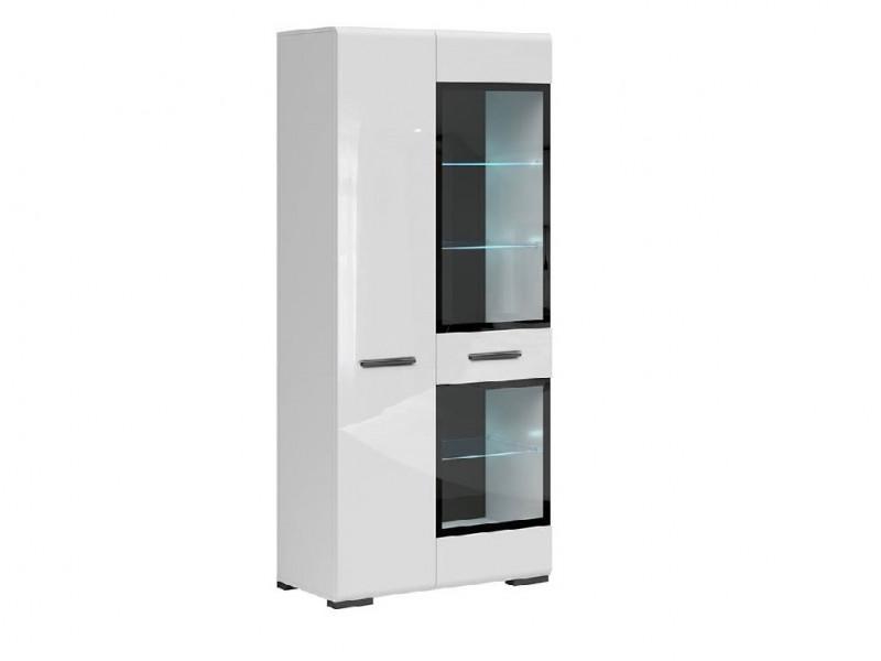 Modern White Gloss Tall Large Glass Display Cabinet Buffet Shelf Unit LED Lights Black Rim - Assen (S513-REG1W1D/20/9-BI/BIP-KPL01+LEDS)