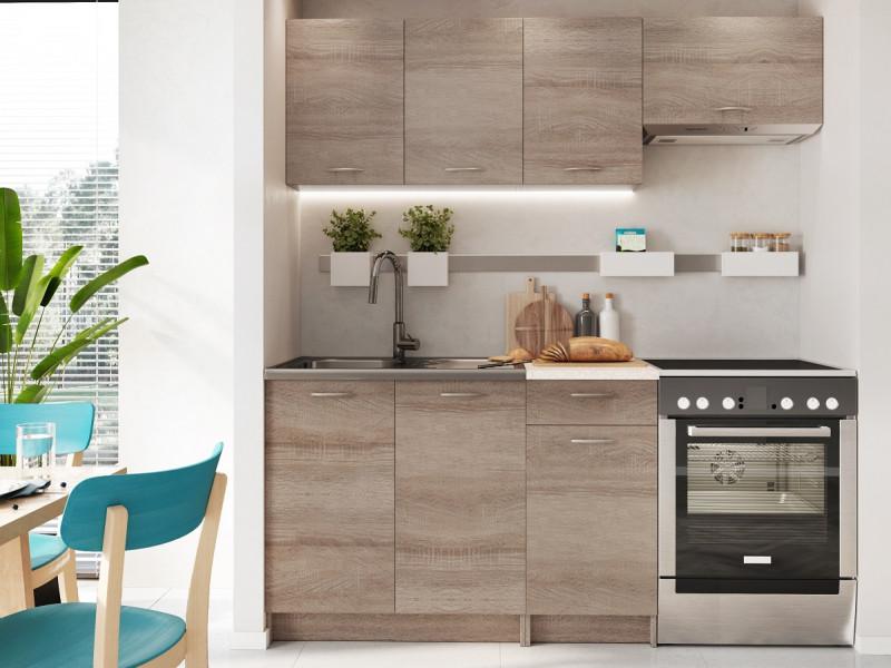 Complete Kitchen Set of 5 Cabinets Units Flat Pack in Truffle Dark Oak finish – Nela 1 (STO-NELA_SET-5UNITS_1.2/1.8-TRU)