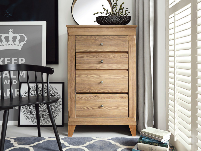 Traditional Tallboy Narrow Tall Chest of Drawers in Oak finish - Bergen (KOM4S)