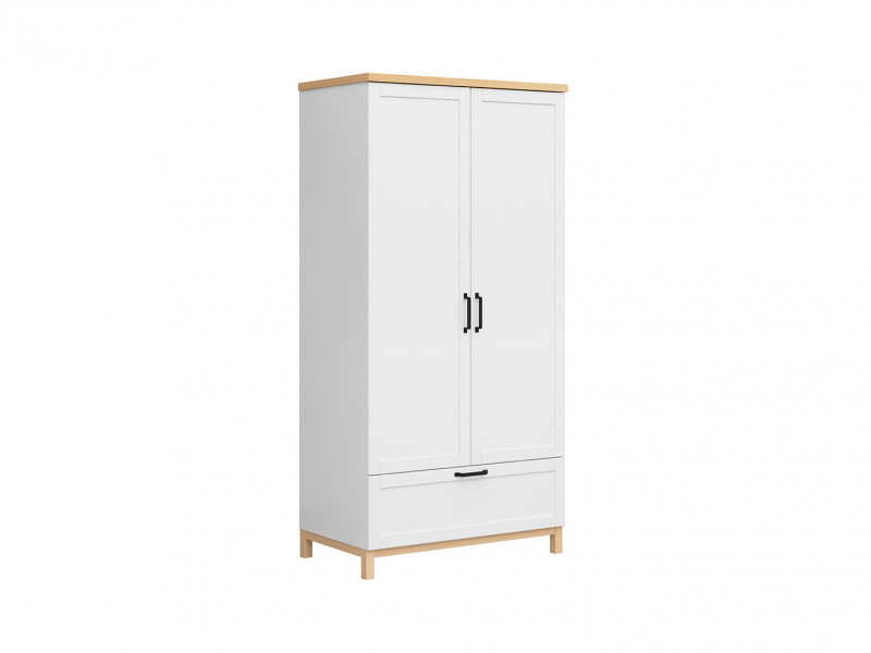 Scandinavian 2-Door Freestanding Double Wardrobe with Drawer Shelves 100 cm White/Oak - Haga (S369-SZF2D1S-BIM/BIC-KPL01)