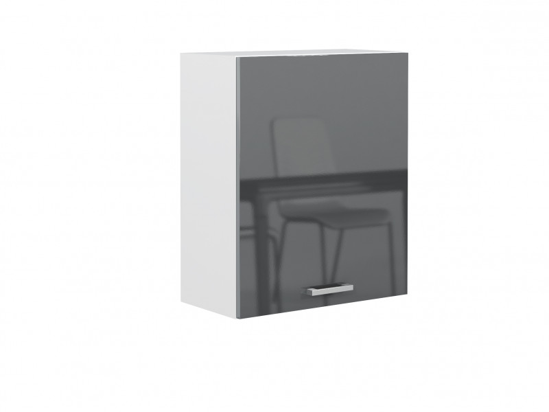 Grey Gloss Kitchen Wall Cabinet Cupboard 1 Door Wall Hung Unit 60cm 600mm - Modern Luxe (STO-MODERN_LUX-W60/58-P/L-GREY-KP01)