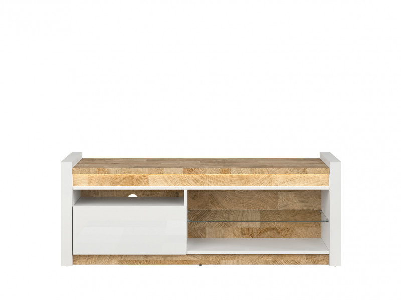 Modern White Gloss Media Table TV Stand Storage Cabinet Unit with LED Lights Oak finish top - Alameda (S420-RTV1S-BIP/DWM/BIP)