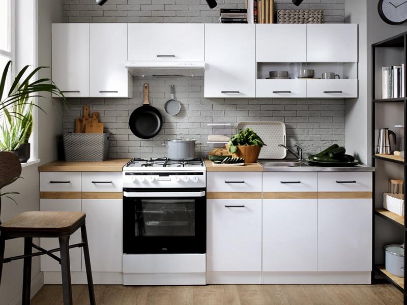 Modern Free Standing White Gloss/Oak Cabinets Cupboards Modular Set of 7 Base & Wall Units - Junona (K24-JUNONA_MODUL/240-BI/BIP/DCRZ-KPL01)