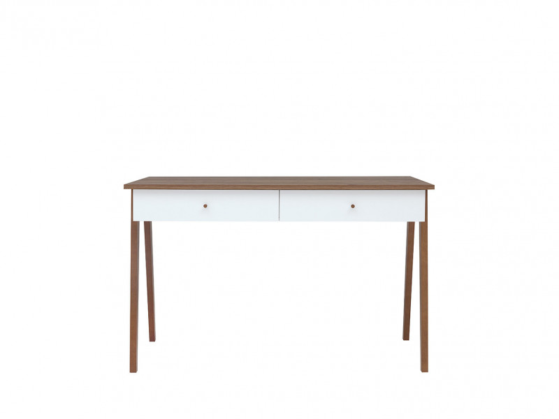 Scandi Compact White Gloss Console Table Laptop Desk 2-Drawers Wooden Legs - Heda (BIU2S)