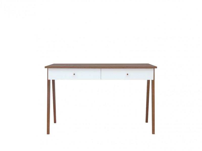 Scandi Compact White Gloss Console Table Laptop Desk 2-Drawers Wooden Legs - Heda (S385-BIU2S-BI/MSZ/BIP-KPL01)