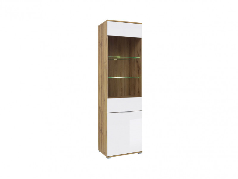 Modern White Gloss & Oak Tall Glass Fronted 1 Door Display Cabinet Unit with LED Lights - Zele (S383-REG1W1D-DWO/BIP+LED)