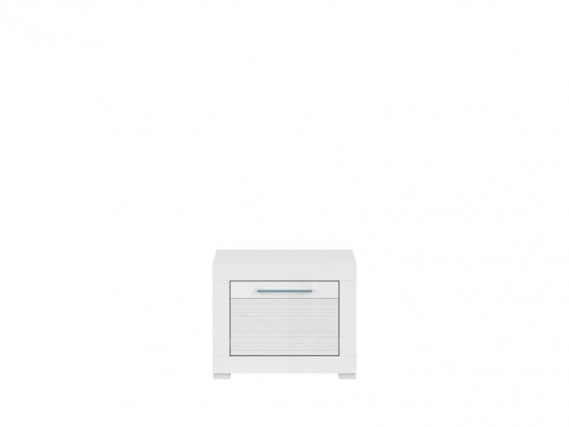 Modern White Gloss Low Bedside Cabinet Night Stand Side Table 1 Deep Drawer Bedroom Storage Unit - Flames (S428-KOM1S-BIP-KPL01)