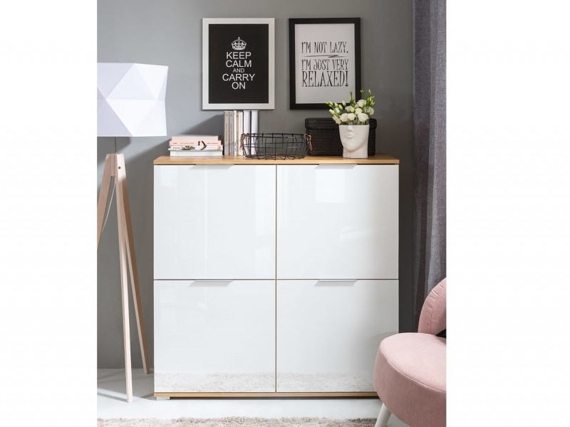 Modern Square Small 4-Door Sideboard Unit Storage Cabinet White Gloss/Oak - Zele (S383-KOM4D-DWO/BIP-KPL01)